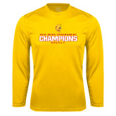 Syntrel Performance Gold Longsleeve Shirt-2016 WCHA Tournament Champions Hockey