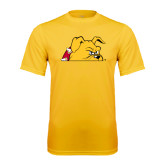 Performance Gold Tee-Bulldog Head Peeking