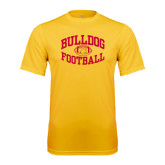 Performance Gold Tee-Bulldog Football Arched