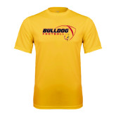Performance Gold Tee-Bulldog Football Flat w/ Ball