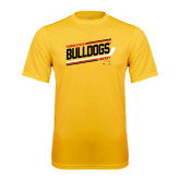 Performance Gold Tee-Bulldogs Hockey Slanted