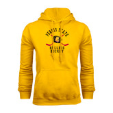 Gold Fleece Hood-Hockey Arched w/ Sticks and Puck
