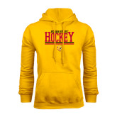 Gold Fleece Hoodie-Ferris State Hockey Stacked