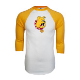 White/Gold Raglan Baseball T-Shirt-Bulldog Head