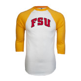 White/Gold Raglan Baseball T-Shirt-Arched FSU