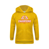 Youth Gold Fleece Hood-Back-to-Back-to-Back GLIAC Champions Volleyball