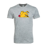 Next Level SoftStyle Heather Grey T Shirt-Bulldog Head Peeking