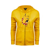 ENZA Ladies Gold Fleece Full Zip Hoodie-Bulldog Head