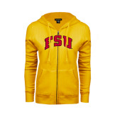 ENZA Ladies Gold Fleece Full Zip Hoodie-Arched FSU