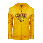 ENZA Ladies Gold Fleece Full Zip Hoodie-Back-to-Back GLIAC Champions Mens Basketball 15-16