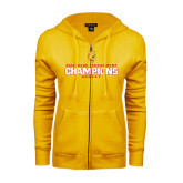 ENZA Ladies Gold Fleece Full Zip Hoodie-2016 WCHA Tournament Champions Hockey
