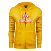 ENZA Ladies Gold Fleece Full Zip Hoodie-Back-to-Back-to-Back GLIAC Champions Volleyball