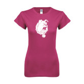 Next Level Ladies SoftStyle Junior Fitted Fuchsia Tee-Bulldog Head