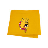 Gold Sweatshirt Blanket-Bulldog Head