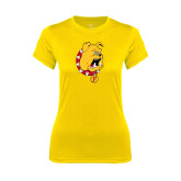 Ladies Syntrel Performance Gold Tee-Bulldog Head