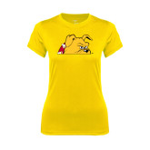 Ladies Syntrel Performance Gold Tee-Bulldog Head Peeking