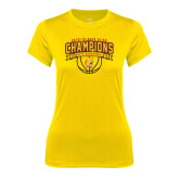 Ladies Syntrel Performance Gold Tee-Back-to-Back GLIAC Champions Mens Basketball 15-16