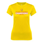 Ladies Syntrel Performance Gold Tee-2016 WCHA Tournament Champions Hockey