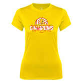 Ladies Syntrel Performance Gold Tee-Back-to-Back-to-Back GLIAC Champions Volleyball