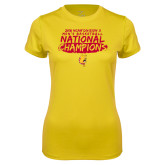 Ladies Syntrel Performance Gold Tee-2018 NCAA Mens Basketball National Champions - Brush