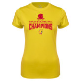 Ladies Syntrel Performance Gold Tee-2018 NCAA Mens Basketball National Champions - Stacked