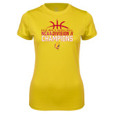 Ladies Syntrel Performance Gold Tee-2018 NCAA Mens Basketball National Champions - Basketball