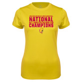 Ladies Syntrel Performance Gold Tee-2018 NCAA Mens Basketball National Champions - Bar