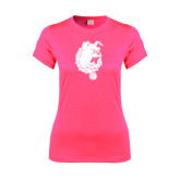 Ladies Performance Hot Pink Tee-Bulldog Head