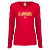 Ladies Red Long Sleeve V Neck Tee-2017 Volleyball Champions