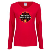 Ladies Red Long Sleeve V Neck Tee-2018 NCAA Mens Basketball National Champions
