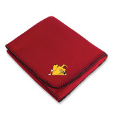 Red Arctic Fleece Blanket-Bulldog Head Peeking