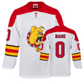 White Replica Hockey Jersey-
