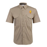 Khaki Short Sleeve Performance Fishing Shirt-Bulldog Head