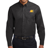 Black Twill Button Down Long Sleeve-Bulldog Head Peeking