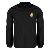 V Neck Black Raglan Windshirt-Bulldog Head