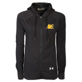 Ladies Under Armour Black Varsity Full Zip Hoodie-Bulldog Head Peeking