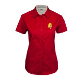 Ladies Red Twill Button Up Short Sleeve-Bulldog Head