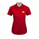 Ladies Red Twill Button Up Short Sleeve-Bulldog Head Peeking