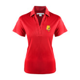 Ladies Red Performance Fine Jacquard Polo-Bulldog Head