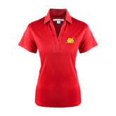 Ladies Red Performance Fine Jacquard Polo-Bulldog Head Peeking