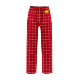 Red/Black Flannel Pajama Pant-Bulldog Head Peeking