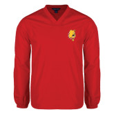 V Neck Red Raglan Windshirt-Bulldog Head