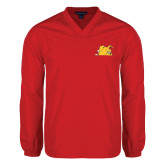 V Neck Red Raglan Windshirt-Bulldog Head Peeking