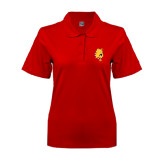 Ladies Easycare Red Pique Polo-Bulldog Head