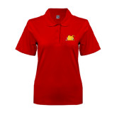 Ladies Easycare Red Pique Polo-Bulldog Head Peeking