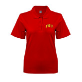 Ladies Easycare Red Pique Polo-Arched FSU