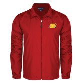 Full Zip Red Wind Jacket-Bulldog Head Peeking
