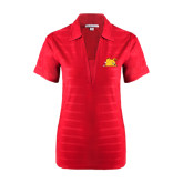 Ladies Red Horizontal Textured Polo-Bulldog Head Peeking