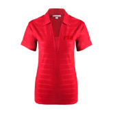 Ladies Red Horizontal Textured Polo-Arched FSU