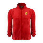 Fleece Full Zip Red Jacket-Bulldog Head
